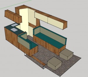 MB L2H2 2x lengtebank-bed -keuken