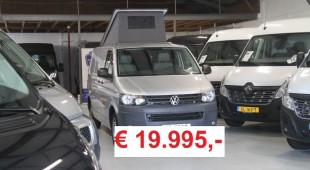 VW T5 camper prijs 19.995 rood - wit vlak kleine tekst